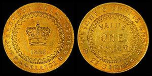 Australian pound - Image: Australia 1852 Adelaide Pound