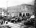 Automobiles gathered outside the Delmonico Hotel, Port Townsend, Washington, ca 1914 (WASTATE 545).jpeg