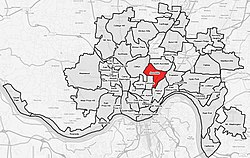 Avondale (red) within Cincinnati, OH