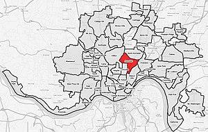 Avondale, Cincinnati - Image: Avondale cincinnati map