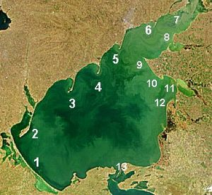 Sea of Azov - Major spits of the Sea of Azov: 1. Arabat 2. Fedotov 3. Obitochna 4. Berdyansk 5. Belosaraysk 6. Krivaya 7. Beglitsk 8. Glafirovsk (east) and Yeysk (west) 9. Dolgaya 10. Kamyshevatsk 11. Yasensk 12. Achuevsk 13. Chushka