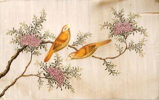 Paisatge amb ocells taronges (oriental)