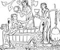 Bad, en medeltidsriddare i badet, Nordisk familjebok.png