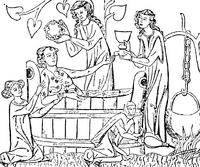 فارس من العصور الوسطى أثناء استحمامه