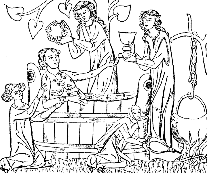 Medieval bathing, from Wikimedia Commons