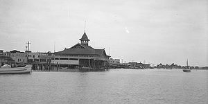 History of Newport Beach, California - Balboa pavilion and surrounding docks in Newport Beach, circa 1924