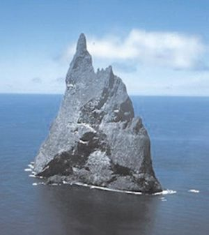 "High island - Ball's Pyramid, a steep remnant of an oceanic volcano, now forming a small high island or ""islet"" in the southern Pacific."