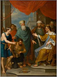 Balthasar Beschey - The brothers try to buy corn from Joseph, the Vice-Roy of Egypt.jpg