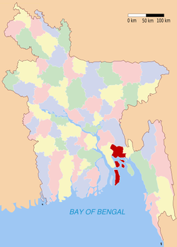 Location of Noakhali in Bangladesh