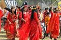 Bangladeshi girls wearing traditional sari with flower crown at Pohela Boishakh celebration 2016 (01).jpg