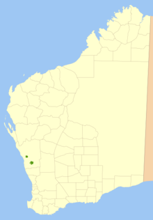 Map of Western Australia with two small green patches midway along the west coast