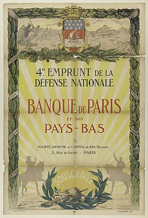 Paribas - Banque de Paris et des Pays-Bas issued war bond from 1918
