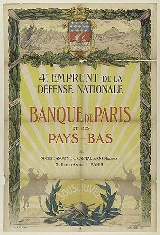 Paribas - Banque de Paris et des Pays-Bas issued war bond from 1918