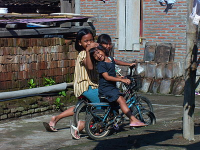 Three girl children in Bantul, Indonesia