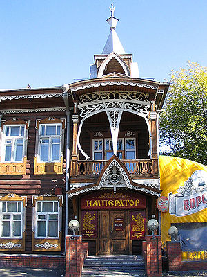 Barnaul - A historical wooden house used to be as the Imperator Restaurant (former Russian Tea Restaurant), now is under reconstruction