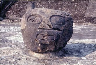 Cholula (Mesoamerican site) - Basalt head sculpture