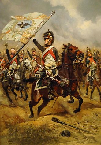 Dragoon - French dragoons with captured Prussian flag at the Battle of Jena