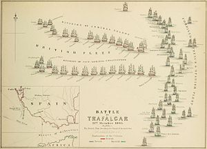 HMS Temeraire (1798) - An 1848 plan of the fleet positions at the Battle of Trafalgar. Temeraire forms part of the weather column, and is depicted abreast of the Victory, racing her for the Franco-Spanish line.