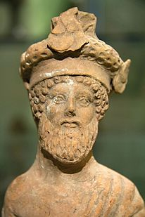 Bearded Dionysos at a feast, small terracotta, early 4th c BC, Prague Kinsky, NM-H10 4778, 140893