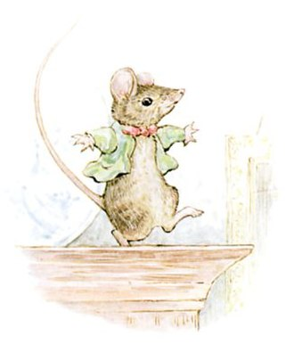 The Story of Miss Moppet - The last illustration shows the mouse dancing a jig.