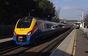 Beeston railway station - East Midlands Trains Meridian 222019 calls at Beeston with a London-Nottingham service.