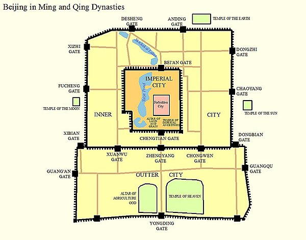 Map of Beijing in Ming Dynasty Beijing in Ming and Qing Dynasties.jpg