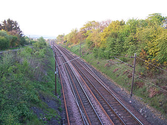 Glasgow, Paisley, Kilmarnock and Ayr Railway - The line near the site of the closed Beith station in 2007