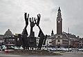 "Belfry of Charleroi and ""Passation"" artwork by Martin Guyaux (DSCF7690).jpg"