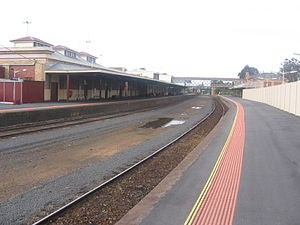 Bendigo railway station - Northbound view from Platform 2 in September 2009