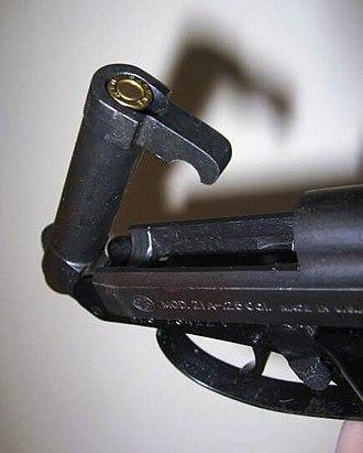 Beretta 21A Bobcat - Showing the tip-up barrel.