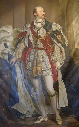 Bernhard II, Duke of Saxe-Meiningen - Portrait of Bernhard II, Duke of Saxe-Meiningen in the ceremonial robes of the Order of the Garter