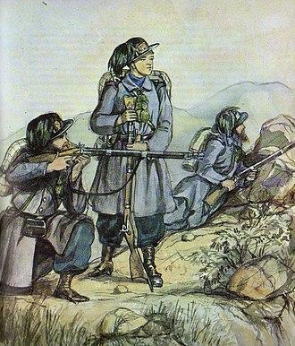 Royal Sardinian Army - Group of Bersaglieri, the special troops of the Sardinian army during the Risorgimento