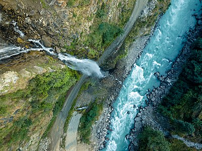 Arial view of Bhorley waterfall of Dolakha and Tamakoshi river.