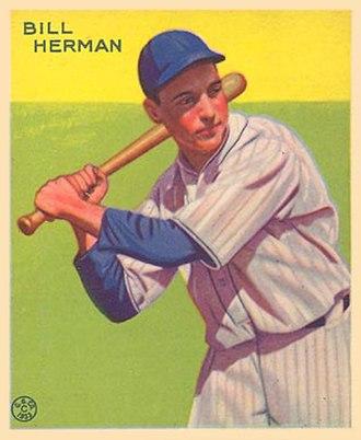 Billy Herman - A 1933 Goudey baseball card of Herman.