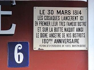 "Bistro - Plaque about the legend of the origin of the word ""Bistro"" at 6, place du Tertre, Paris"