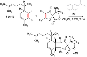 Convergent synthesis - Final step in total synthesis of Biyouyanagin A with acetonaphthone photosensitizer