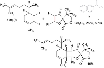Final step in total synthesis of Biyouyanagin A with acetonaphthone photosensitizer