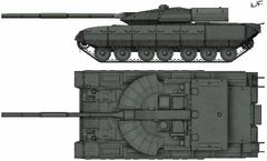 Widok czołgu z boku i z góry