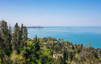 Black Sea - Black Sea coast of western Georgia, with the skyline of Batumi on the horizon