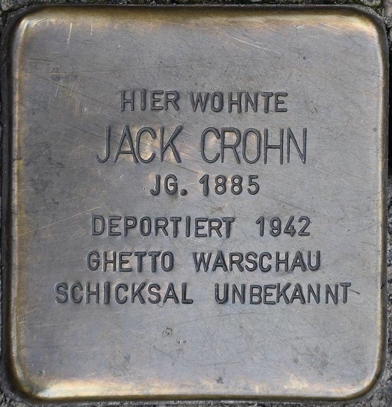 Blankenburg (Harz), Tränkestr. 21 Ecke Lange Straße, Stolperstein Jack Crohn