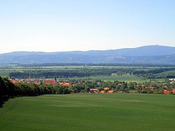 View over Osterwieck and Harz range