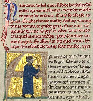 "Aimeric de Belenoi - N'aimerics de belenoi si fo de bordales dun castel qa nom lesparra. . . ""Sir Aimeric de Belenoi was from the Bordelais, from a castle called Lesparre. . ."" In his picture he is portrayed tonsured, as a monk."