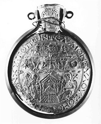 Monza ampullae - A flask from Bobbio, with the Women at the empty tomb
