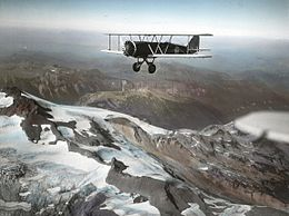 Boeing Model 40 over mountains circa 1930s.jpg