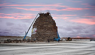 Bonfire - On the beaches of Duindorp (pictured) and Scheveningen, both part of The Hague, teams annually compete to build the world's largest bonfire
