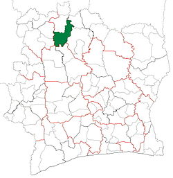 Location in Ivory Coast. Boundiali Department has had these boundaries since 2008.