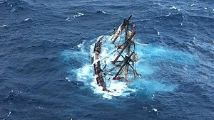 Shipwrecking - Bounty awash in the Atlantic Ocean during Hurricane Sandy approximately 90 miles southeast of Hatteras, N.C., 29 Oct. 2012.