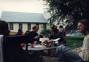 Brad Will - Brad Will (far right) at the Dreamtime Village, about 1993
