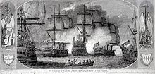 Two sailing vessels bracket another ship, each firing smoke into the central vessel. Two more ships are partially visible in the foreground and the scene is bordered by piled guns and standards.
