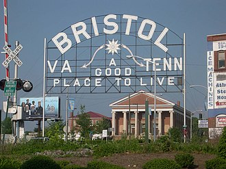 Bristol, Tennessee - A sign welcomes visitors to the twin cities of Bristol, Virginia and Bristol, Tennessee.